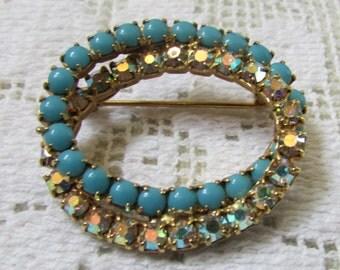 vintage oval double infinity rhinestone pin brooch
