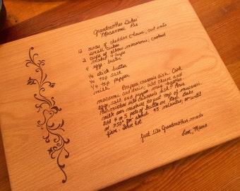 GRANDMOTHERS HANDWRITTEN RECIPE  Cutting Board Family Recipe Engraved Cutting Board