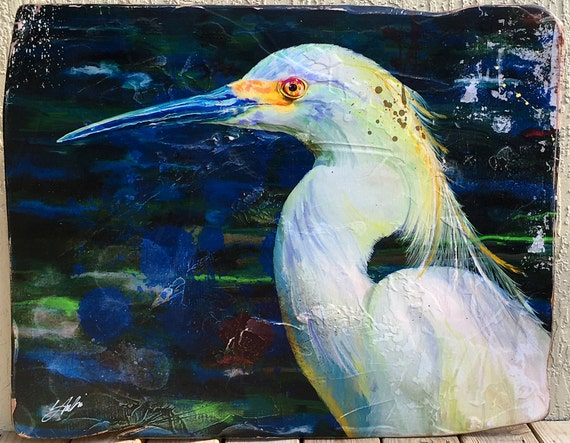 "40"" x 30"". ""Vintage"" art made daily... Handmade, one of a kind. Snowy Egret. FREE SHIPPING!"