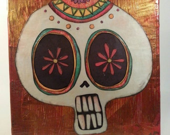 Day of the Dead Dia De Los Muertos Mixed Media Sugar Skull