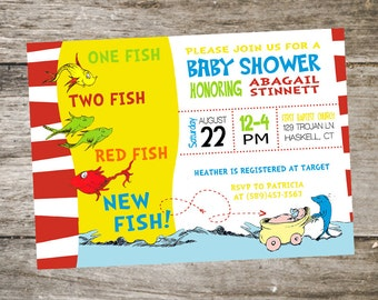 Dr. Seuss Baby Shower Invitation • One Fish Two Fish Baby Shower Invitation • New Fish Baby Shower
