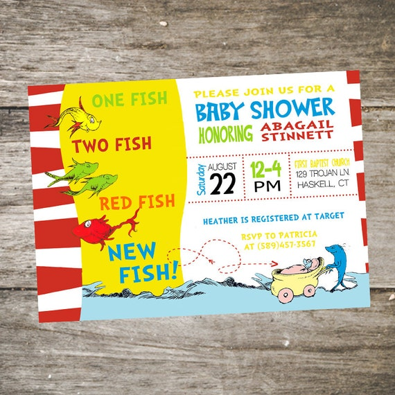 Printable dr seuss baby shower invitations for one baby twins or one fish two fish red fish new fish baby shower invitation filmwisefo Image collections