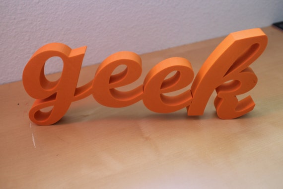discounted orange 3d printed home decor geek letters phrase sculpture pop art kitsch geekery 3