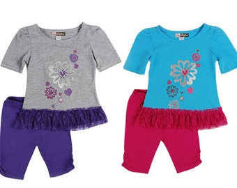 3854- 2 pc girls toddlerFLOWER/ HEART/LACE print
