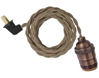 ANTIQUE BRASS LAMP w/ keyless socket