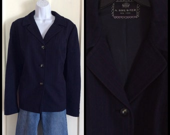 Vintage 1940's Women's Pinstripe Wool Blazer Jacket looks size XL 43 inch waist Rockabilly Navy Blue
