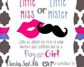 Little Miss or Little Mister? (More options) Gender Reveal Party Customizable Invitation