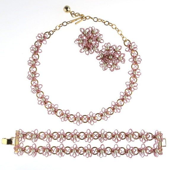 Pink Flower Necklace Bracelet Earrings Set Enamel Over Metal with Faux Pearl