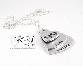 Twins Stacked hearts necklace personalised with childrens names kids babies family silver keepsake mummy mothers day mum mom 2 two double