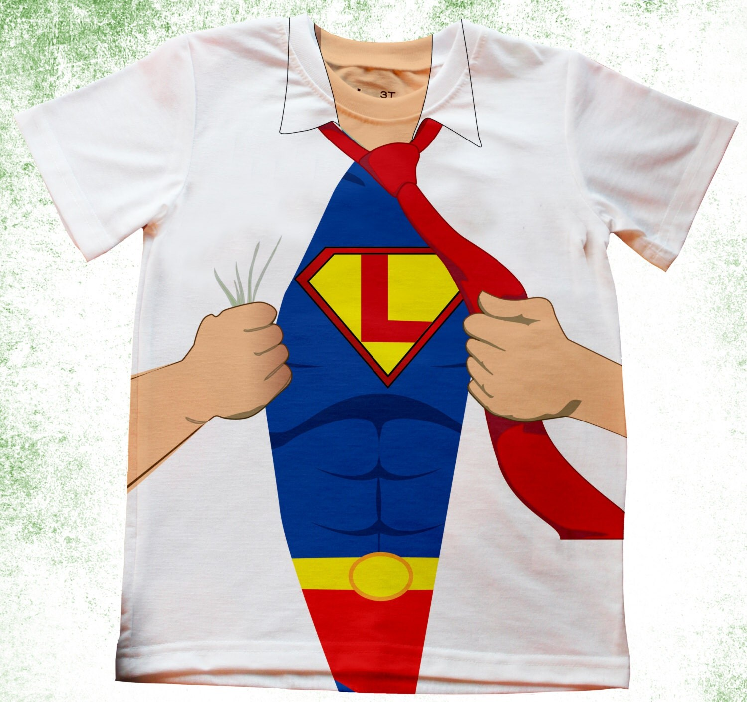 Personalized superman inspired t shirt boys birthday superman for Make your own superman shirt