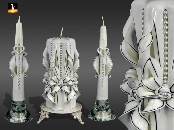 Unity Candle Set Wedding Ceremony Carved Candles By MonnaCandles