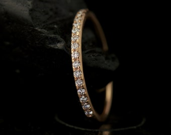 Petite Heather - Diamond Wedding Band in Rose Gold, Round Brilliant Cut, Shared Prong, High Polish Closed Baskets, Classic, Free Shipping