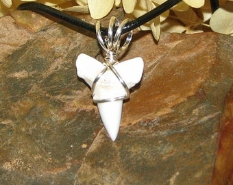 Sterling Silver Wire Wrapped Mako Shark Tooth on Leather Cord