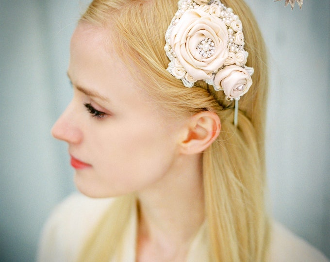 Headband/ Floral Headband/ Bridal Headband/ Vintage Bridal Headpiece/ Wedding Accessories/ Bridal Acessories/Rhinestones/ Pearls/ Rose