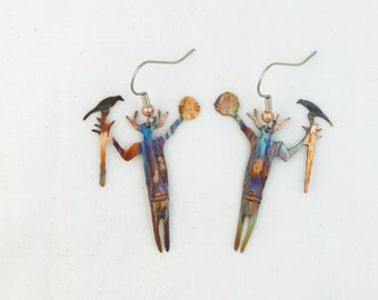 Shaman earrings, desert southwest art, medicine man jewelry, Shaman jewelry, petroglyph jewelry, flame painting, fire torched, copper artist