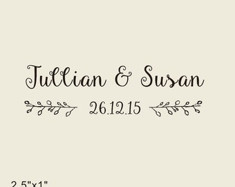 "save the date Stamp,  anniversary stamp, Custom Stamp -rustic rubber stamp- Personalized Stamp - 2.5""X1"""