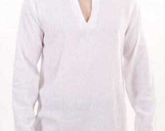 Mens Nehru collar Short  Kurta Shirt in Linen.