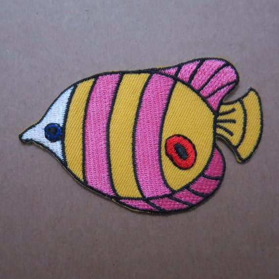 colorful fish embroidered iron on patch
