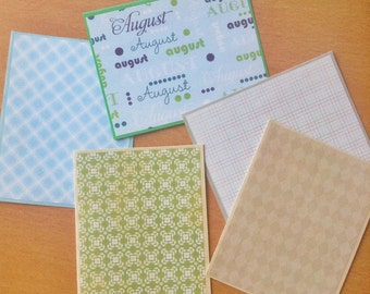 August Fun Greeting Card Set of 5 - five Handmade Cards with Envelopes