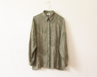 Vintage chiffon blouse women fashion green cream patterned spring summer flared blouse
