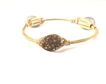 The Golden Bauble || Gold Druzy Oval Bauble Bracelet