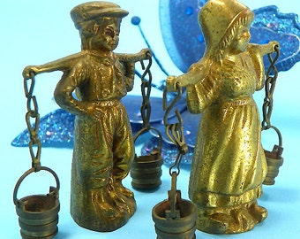 Very Old Brass Girl and Boy Figurines Carrying Buckets Germany Detail on Front and Back