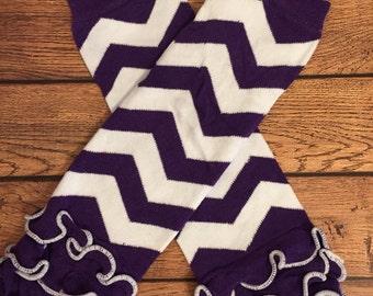 Dark purple chevron ruffle legwarmers