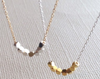 Silver and Gold Necklace ~ Tiny Cube Bead Necklace - Minimal Mixed Metal Layering Necklace on Dainty Chain