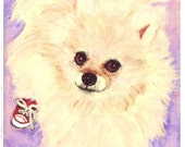 Pomeranian Wearing  Red Tennis Shoes ACEO, Print or  Blank Greeting Card with Print of  Original Watercolor Painting