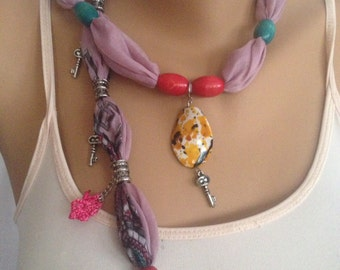 Lilac Scarf Necklace - Bohemian scarf - Lilac Jewelry Scarf - Scarf With Orange Pendant - Cotton Beaded Scarf