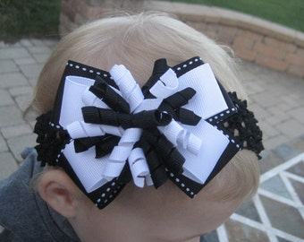 Girls Layered White Bow on a Big Black Bow Hair Bow with Matching Korkers on an Alligator Clip or French Clip or Crochet Headband
