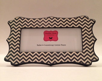 barber cosmetology business license picture frame black and ivory chevron print fits 8 12 x 3 58 business certification