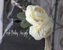 Cream Floral Wedding Crown