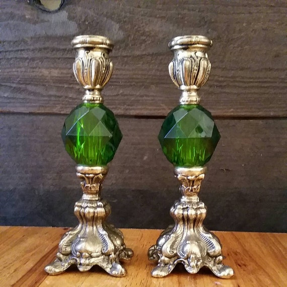 Vintage Brass And Green Glass Candle Holder Ornate Candlestick