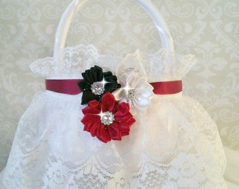 White Lace Flower Girl Baskets, Burgundy Flower Girl Basket, Burgundy Wedding
