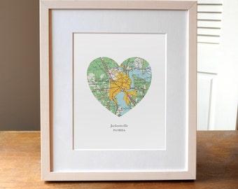 Jacksonville Florida Heart Print, Jacksonville Florida Art, Jacksonville City Map Print, Custom City Art