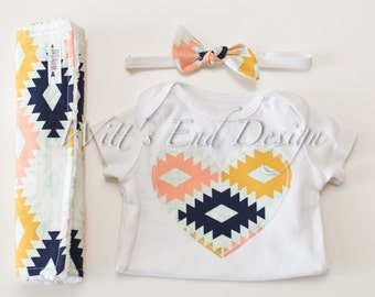 CUSTOM Baby Girl HEART or INITIAL Applique Onesie, Headband, and Chenille Burp Cloths Set: Agave Field