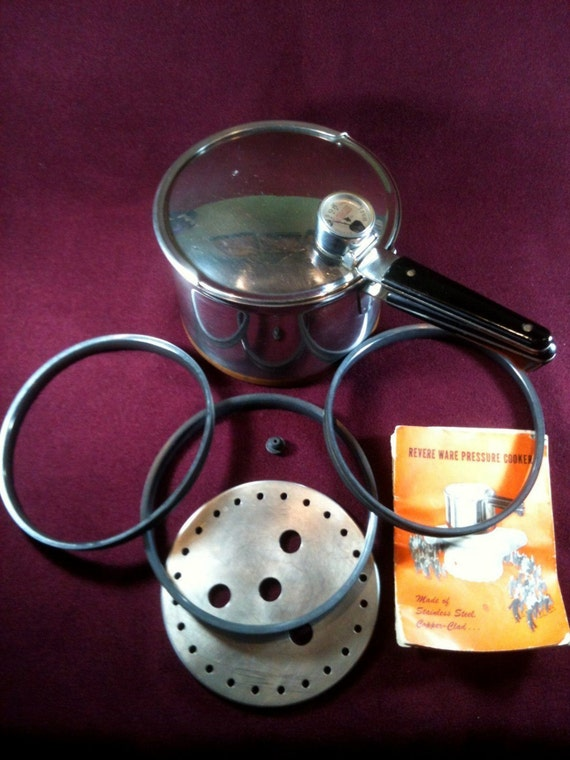 Vintage 1940s Revere Ware 1801 4 Qt Pressure Cooker Pot
