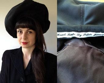 1950s Black Satin Painterly Beret Hat 'Handmade by Peter Jones'