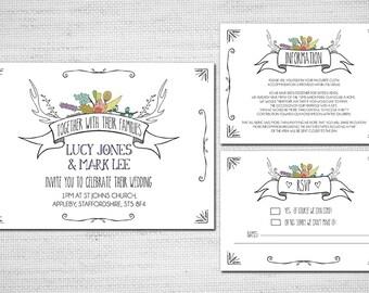 Printable Wedding Invitation -Summer Stag Hand Drawn, boho wedding pdf