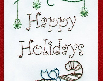 Hand Stitched Happy Holidays Greeting Card