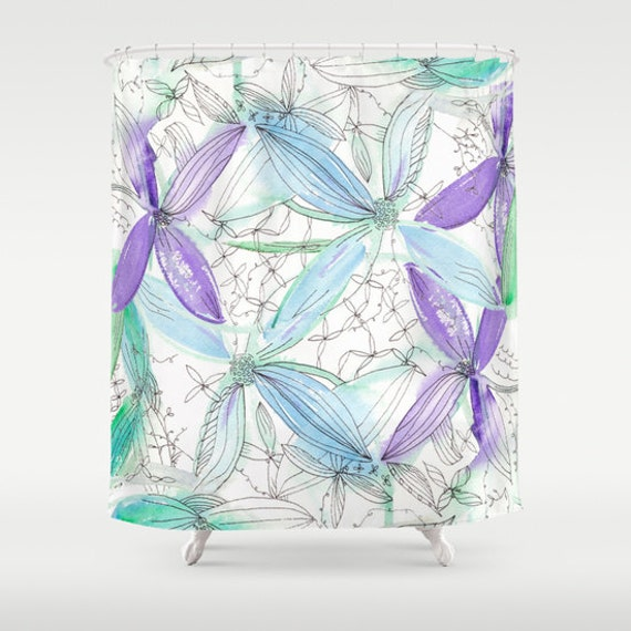 Purple And Teal Shower Curtain. Like this item  Spring Floral Shower Curtain Watercolor purple and teal