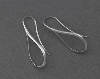 Teardrop Hook Earring . Earring Component . Matte Original Rhodium Plated over Brass  / 2 Pcs - GC107-MR