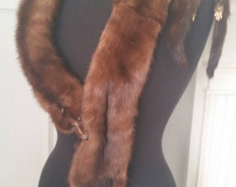 Vintage Mink Fur Stole Fifties Fur Wrap Collar Mink Pelt FREE SHIPPING
