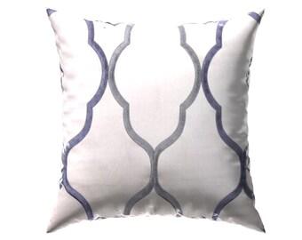 The Charlotte: Petrol Steel Geometric Satin Accent Pillow