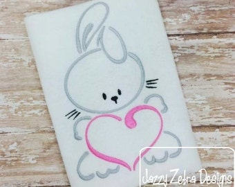 Bunny with Heart Satin Stitch Outline Embroidery Design - Easter embroidery design - bunny embroidery design - rabbit embroidery design