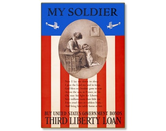 "My Soldier Prayer Third Liberty Loan WW1 Large Metal Wall Decor Vintage World War 1 Propaganda Poster 24x36"" STEEL Sign [not tin ]R000049-12"
