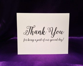 Wedding Card - Thank You For Being A Part Of Our Special Day