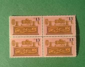 Pink and Gold Stamps, Unused Postage, Vintage Postage from the 70's, 20 pieces of Sound Recording Stamps