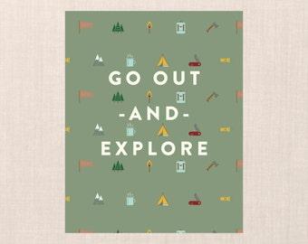 Go Out & Explore Wall Art // 8x10 DIY PRINTABLE //  Home Decor, Wall Art, Modern Home Decor, Nursery Decor, Camp Nursery